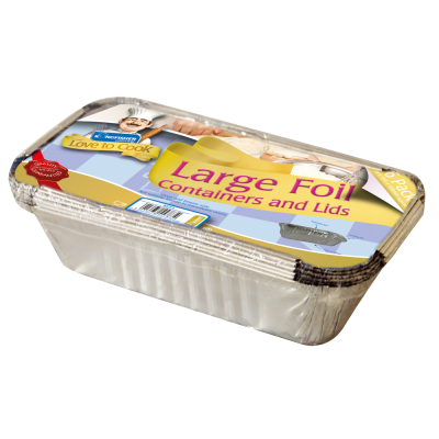 6 Pack of Large Foil Food Containers with Lids