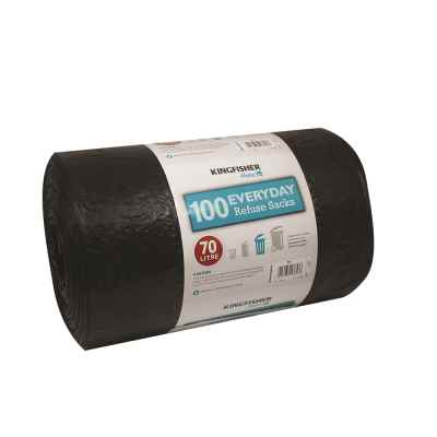 100 Pack of Quality Black 70L Refuse Sacks
