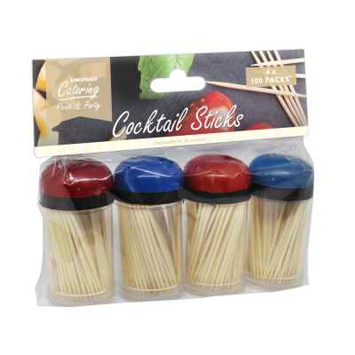 4 x 100 Packs of Wooden Cocktail Sticks
