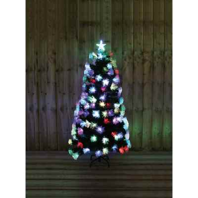 6ft Green Tree with Multi Coloured Fibre Optics