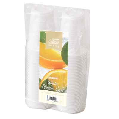 100 Pack 180ml White Plastic Cup