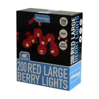 200 Red Large Berry String Lights
