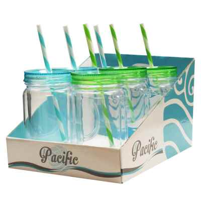 Kids plastic drinking jar with Straw