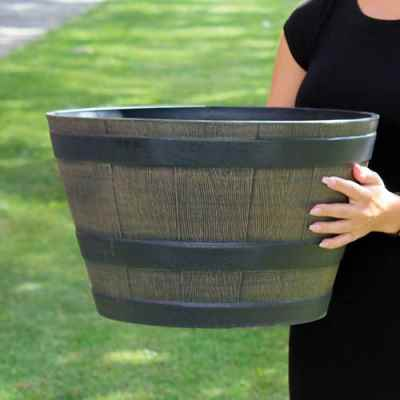 Medium Wooden Barrel Effect Plastic Planter