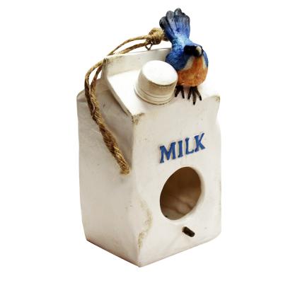 Polyresin Milk Carton Bird House