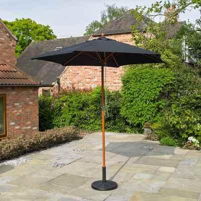 2.4m Wooden Black Garden Parasol