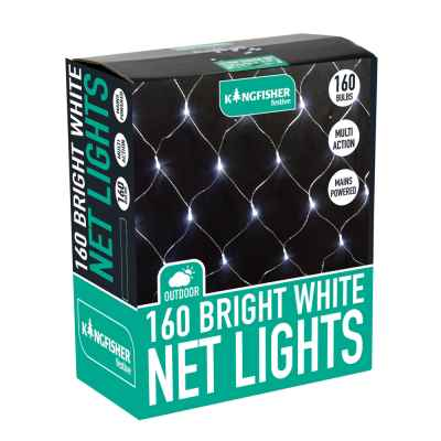 160 Bright White Multi Action LED Xmas Net Lights