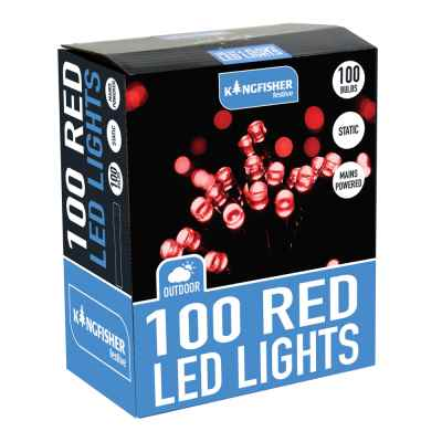 100 Red Static LED Christmas Lights