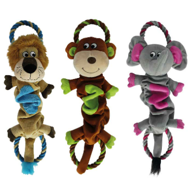 3 Assorted 50cm Plush Bungee Pet Toy