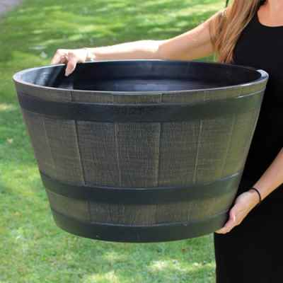 Large Wooden Barrel Effect Plastic Planter