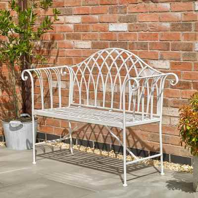 Vintage Cream Garden Bench