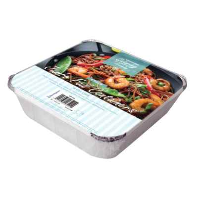 4 Pack of Square Foil Food Containers with Lids