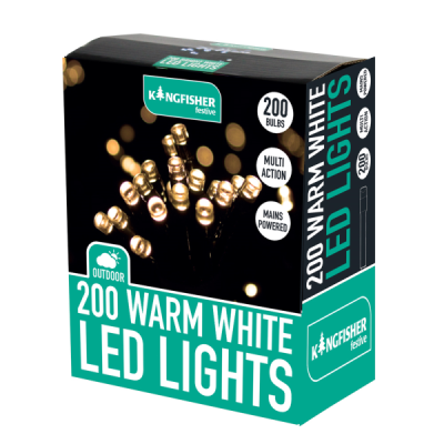 200 Bright White Multi Action LED Christmas Lights