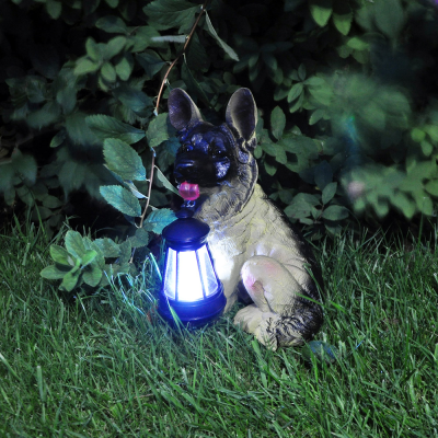 Novelty Dog with Solar Lantern Light