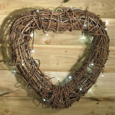Pre-lit Wicker Heart Wreath