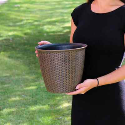 Large Rattan Effect Plastic Plant Pot
