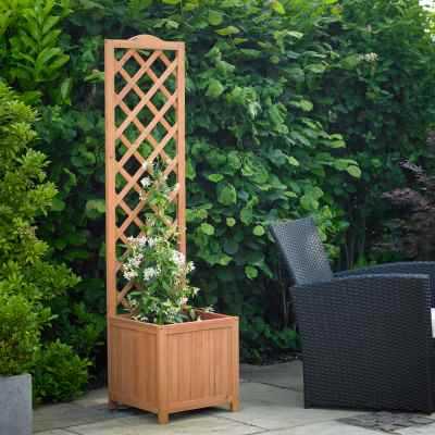 Square planter climber with thin back trellis