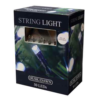 50 White LED Solar String Lights