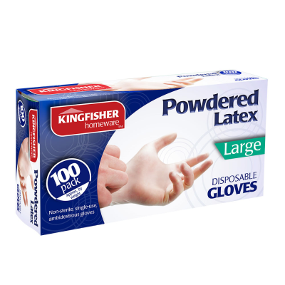 100 Pk Powdered Latex Gloves Large