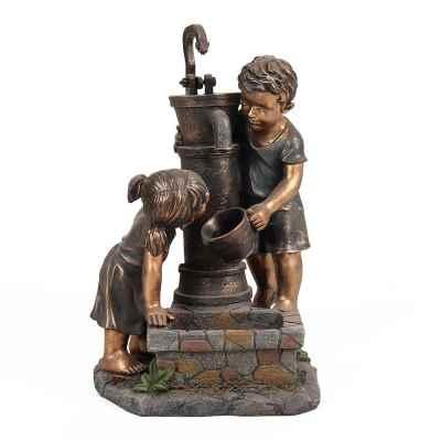 Boy & Girl Hand Pump Garden Water Feature