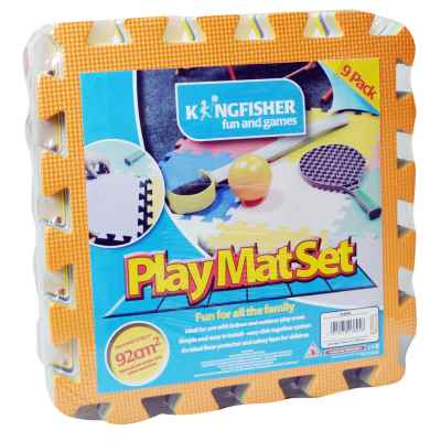 9 Piece Multi Coloured Play Mat Set.