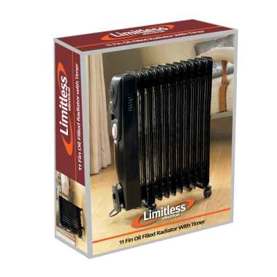 2500w Black 11 Fin Oil Filled Radiator with Timer