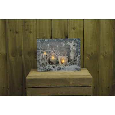 Candle and snow Canvas Print with Flickering LED