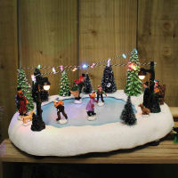 Battery Operated Village Ice Skating Scene