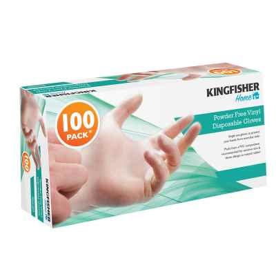 100 Pk Powder Free Vinyl Disposable Gloves - Med