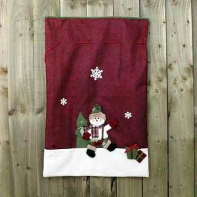 2 Assorted Green & Red Santa & Snowman Sacks