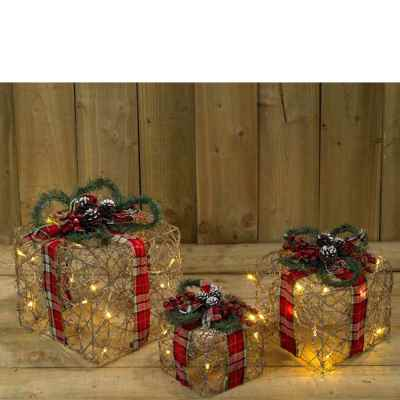3 Pack Wicker and Tartan Battery Operated Gift Box