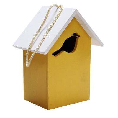 Small Yellow and Blue Wooden Bird House