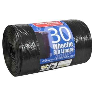 30 Pack of Black Quality 240L Wheelie Bin Liners