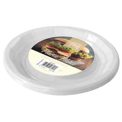 12 Pack of 8.5 inch White Plastic Disposable Plate