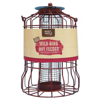 Nut feeder with squirrel guard