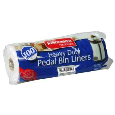100 Pack of Value White 12L Pedal Bin Liners