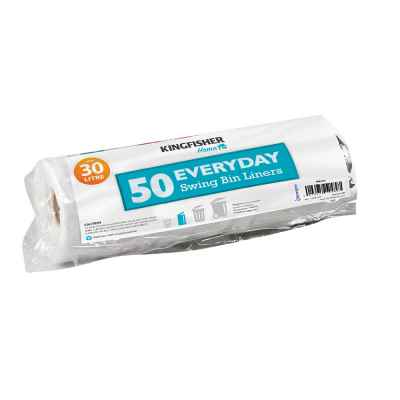 50 Pack of White Value 30L Swing Bin Liners