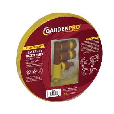 Garden Pro 15M Yellow Garden Hose and Nozzle Set