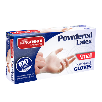 100 Pk Powdered Latex Gloves Small