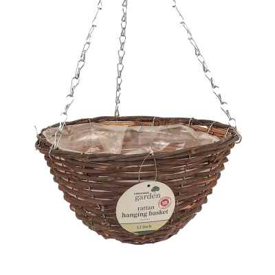 12in (30cm) Dark Rattan Hanging Basket