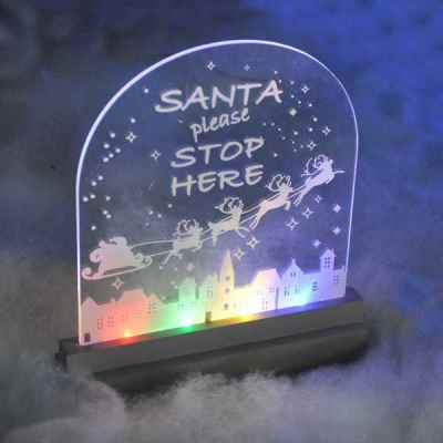 LED Illuminated Santa Stop Here Sign