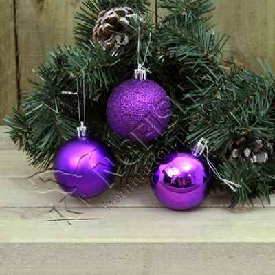 18 pack 5cm Purple Bauble