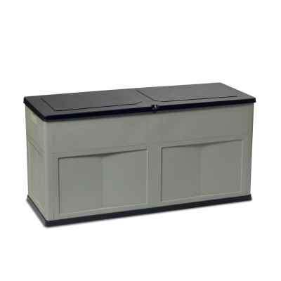 Large Garden Storage Chest Box Dark Grey