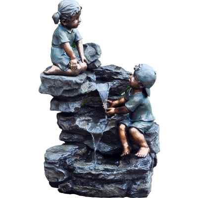 3 Tier Boy & Girl Rock Garden Water Feature