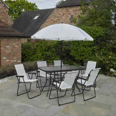 8 Piece Rectangular Garden Furniture Set Cream