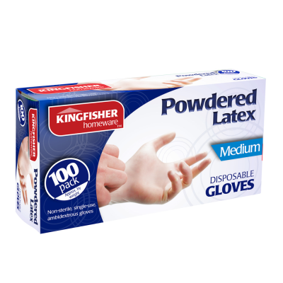 100 Pk Powdered Latex Gloves Medium