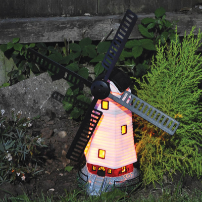 Solar Powered Light Up Traditional Garden Windmill