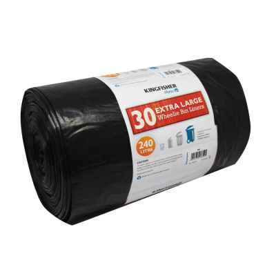 30 Pack of Black Quality 240L Wheelie Bin Liners