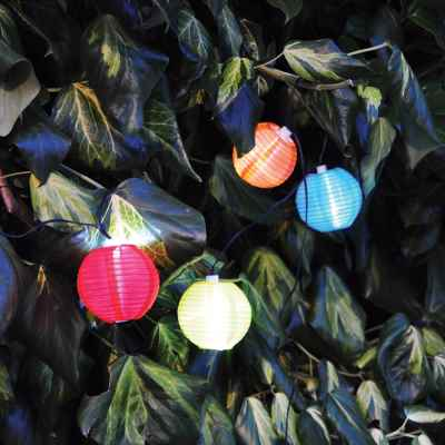 10 Pack Solar LED Chinese Coloured Lanterns