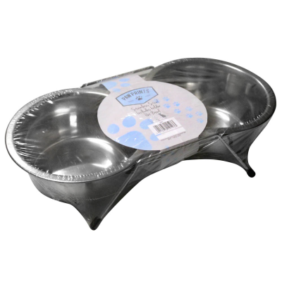 Stainless Steel Double Diner Non Slip Bowl Set